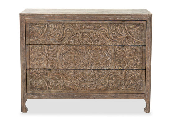 """44"""" Wood Three-Drawer Accent Chest in Brown"""