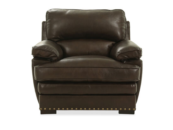 "Nailhead Accented Leather 43"" Chair in Brown"