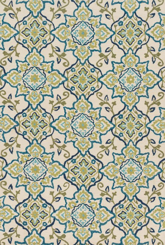 "Transitional 3'-6""x5'-6"" Rug in Ivory/Ocean"