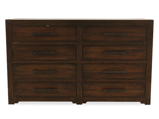 """44"""" Casual Eight-Drawer Dresser in Dark Walnut"""