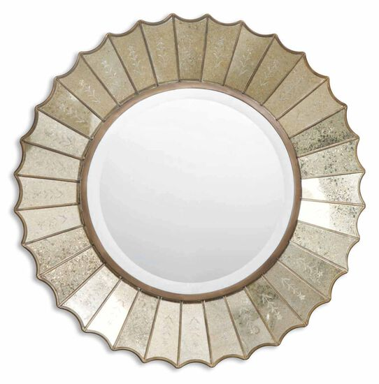 "32"" Round Sunburst Mirror in Antique Gold Leaf"