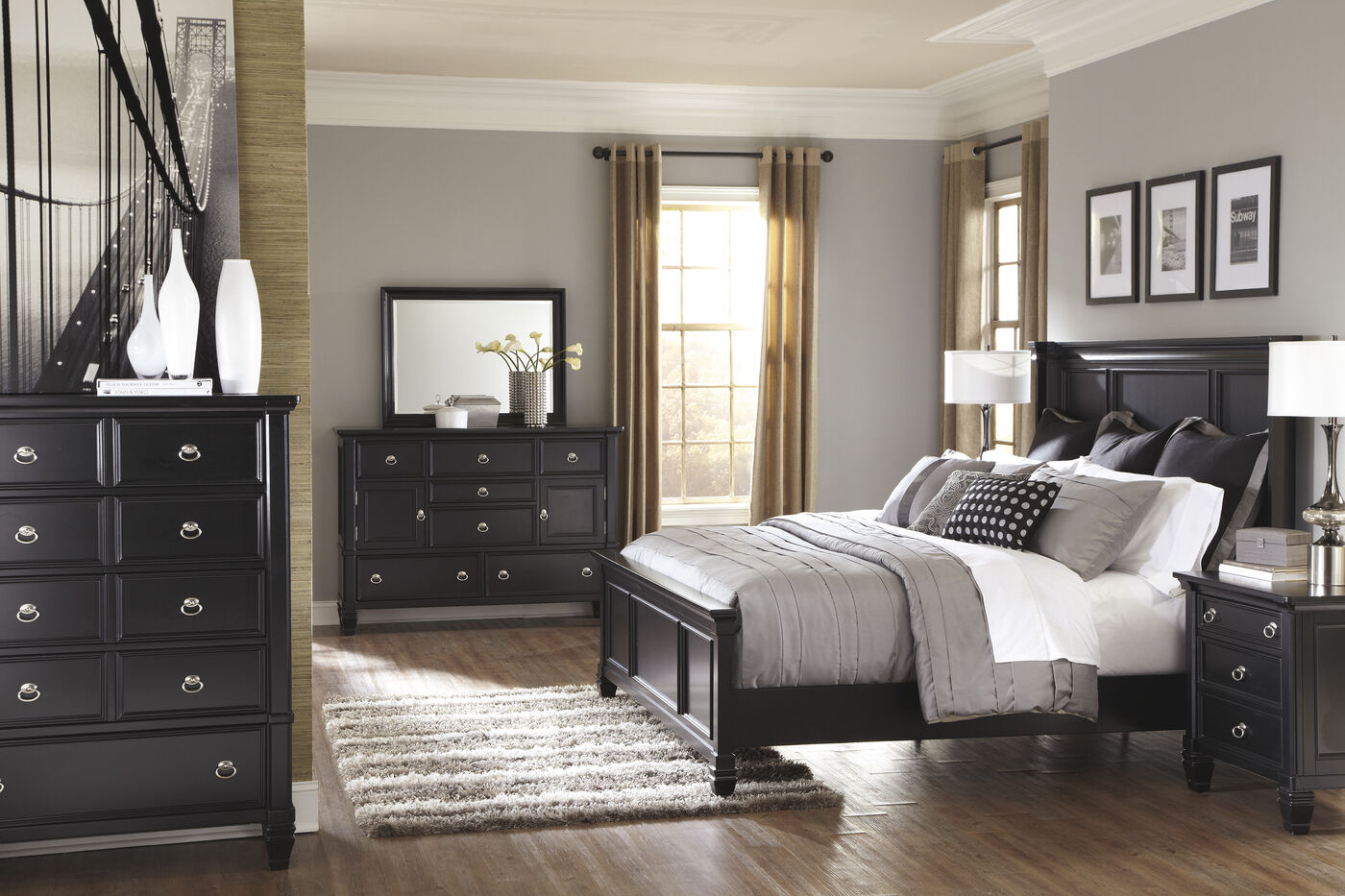 Four-Piece Casual Storage Bedroom Set in Black | Mathis ...