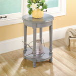 Round Solid Wood Side Table in Gray