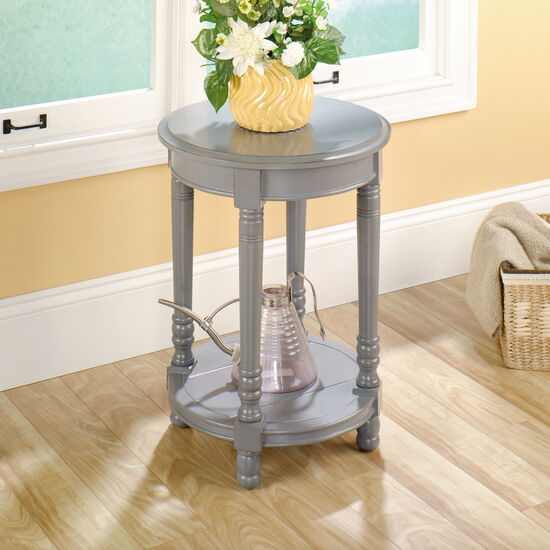 Round Solid Wood Side Tablein Gray