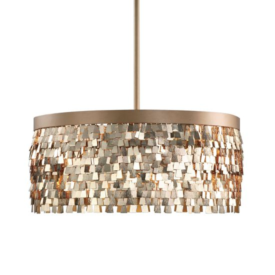 Three-Bulb Textured Pendant Light in Gold