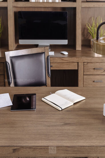 66'' AC Outlet Contemporary Executive Desk in Graystone