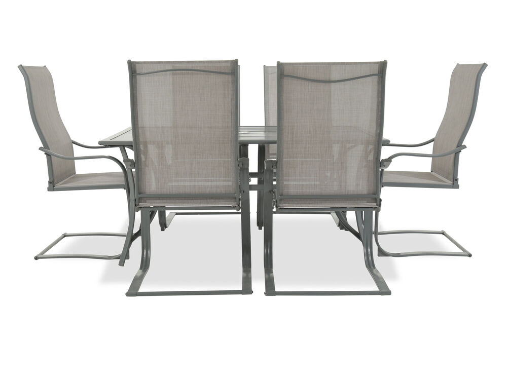 Seven-Piece Traditional Patio Dining Set with Sling Chairsin Grey