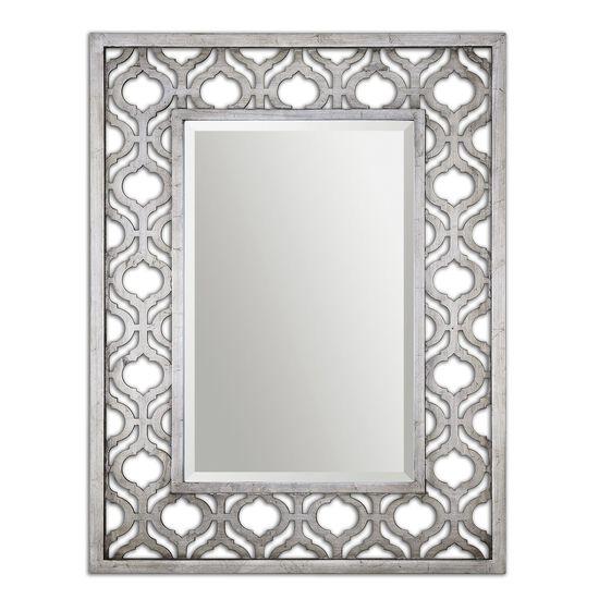 "40"" Trellis Accent Mirror in Antiqued Silver Leaf"