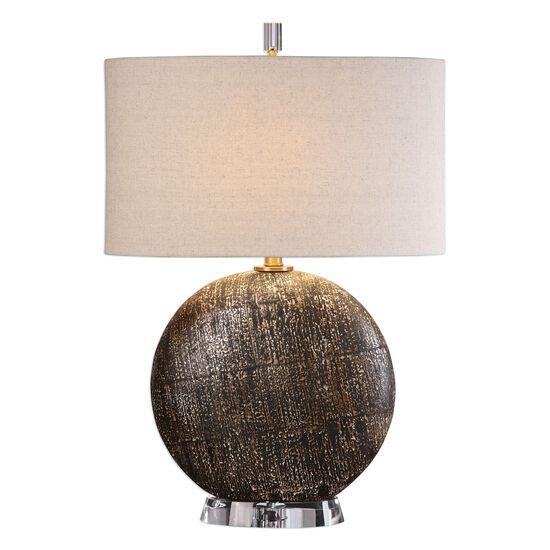 Round Base Drum Shade Lamp in Rust Bronze