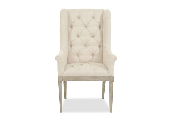 "Button-Tufted 27"" Host Dining Chair in Beige"