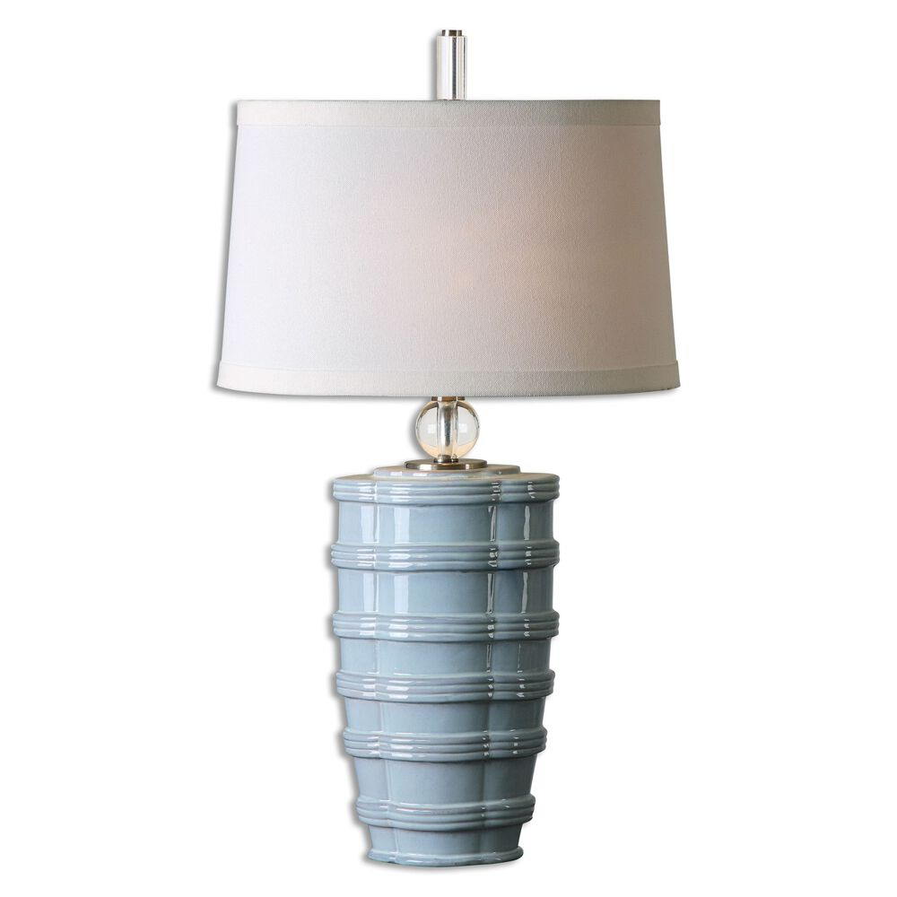 Tiered Base Table Lamp In Light Blue Mathis Brothers Furniture