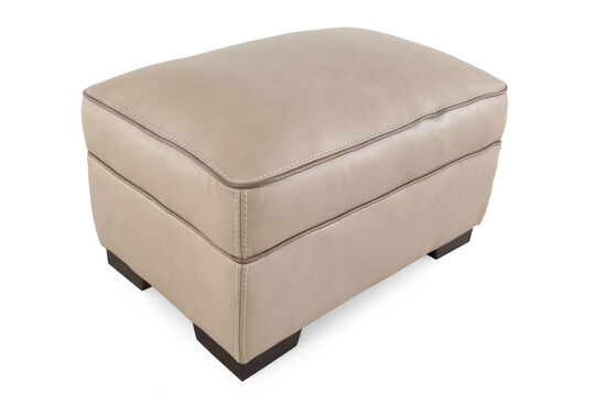 """Contemporary 30"""" Leather Ottoman in Brown"""