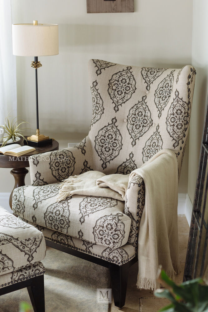Patterned contemporary accent chair and ottoman mathis for Modern accent decor
