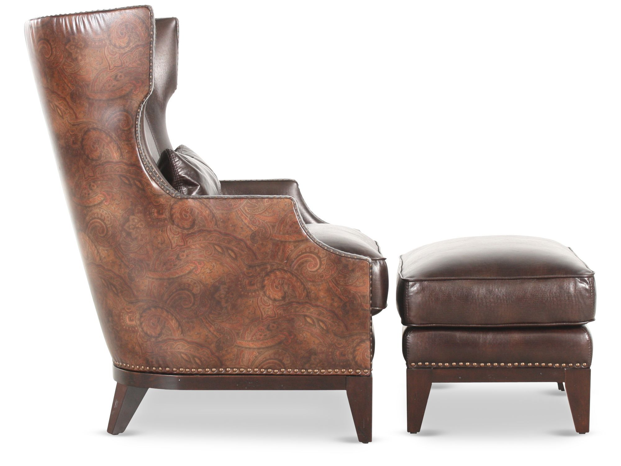 Nailhead Accented Leather 34u0026quot; Chair With Ottoman ...