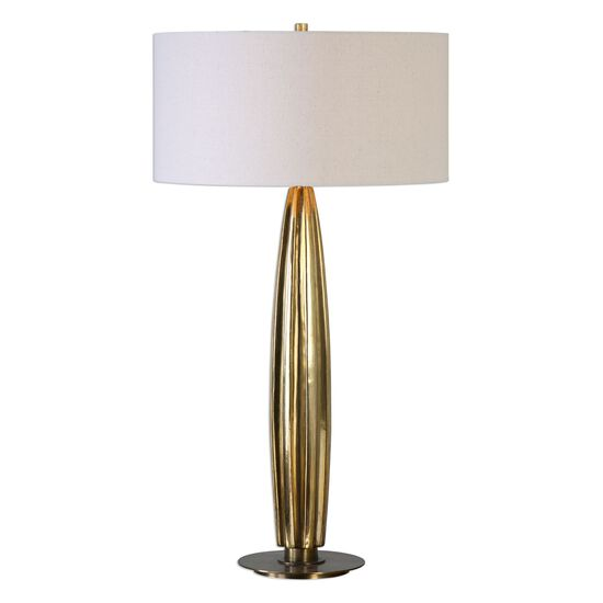 Fluted Table Lamp in Gold