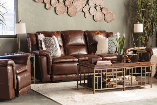 "92"" Casual Power Reclining Sofa in Brown"
