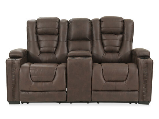 "Power Reclining Ranch House 74"" Consoled Loveseat in Brown"