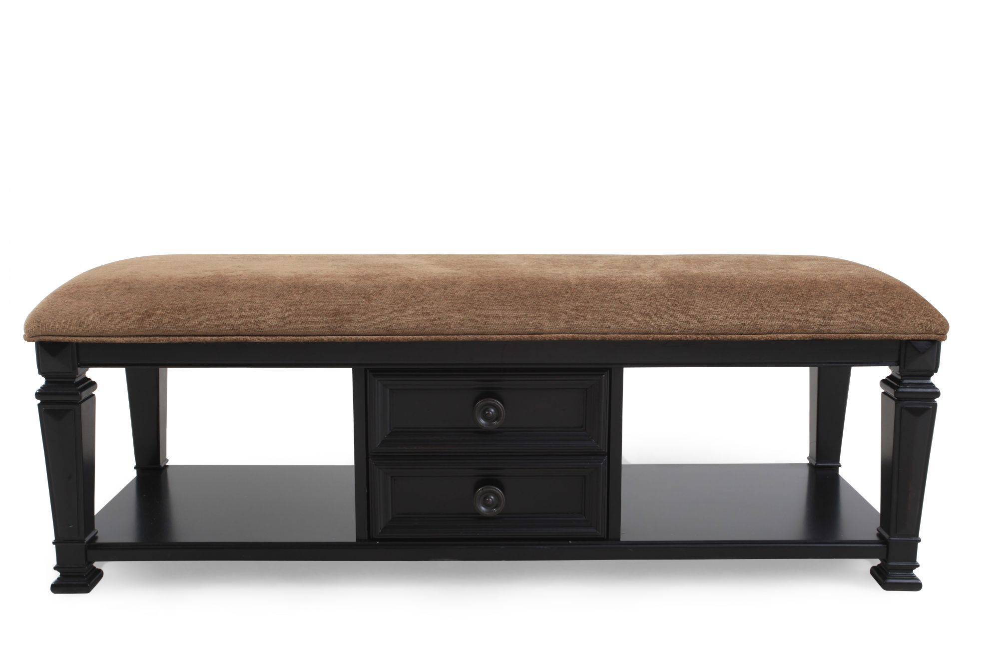 """Bench By Bed: Two-Drawer Traditional 49"""" Bed Bench In Brown"""