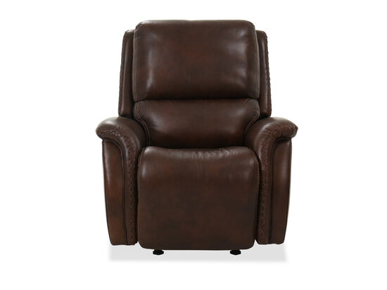 Casual Leather Power Headrest Recliner in Dark Brown