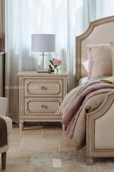 Two-Drawer Transitional Youth Nightstand in Vintage Taupe