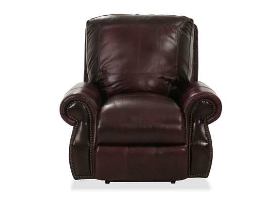 Nailhead-Accented Leather Power Recliner in Brown