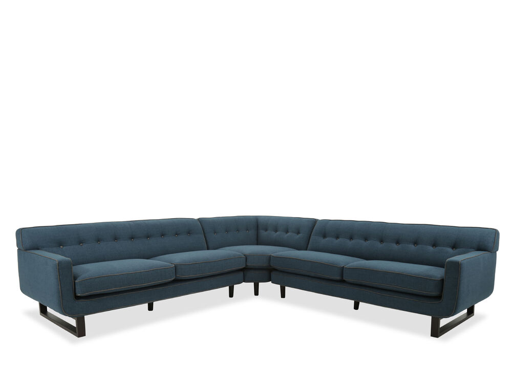Images Mid Century Modern Button Tufted Sectional In Blue