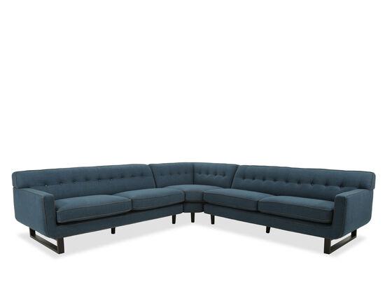 Mid-Century Modern Button Tufted Sectional in Blue