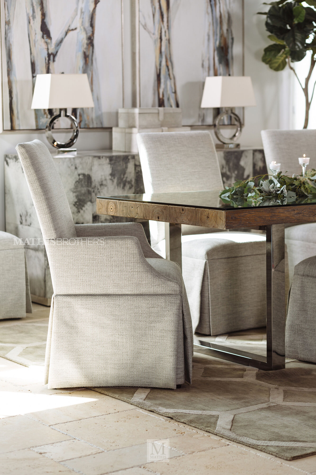 """Upholstered 25"""" Skirted Arm Chair in Beige 