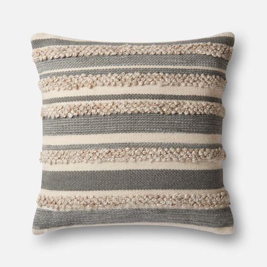 """22""""x22"""" Cover w/Down Pillow in Grey/Ivory"""