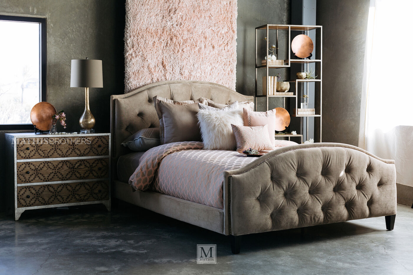 transitional bedroom furniture transitional button tufted bed in beige mathis brothers 13584
