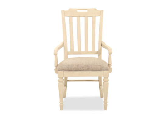 40'' Slat Back Arm Chair in Vintage Linen
