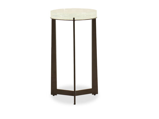 Modern Glass-Top Spot Table in Tumbled Bronze