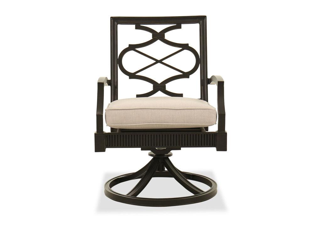 Contemporary Swivel Patio Dining Chair in Dark Gray