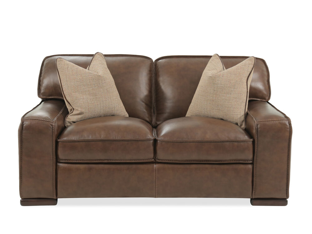 """Traditional Leather 69"""" Loveseat in Brown"""