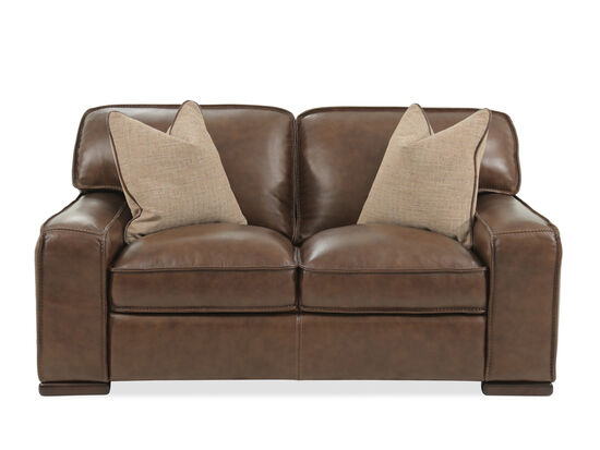 "Traditional Leather 69"" Loveseat in Brown"
