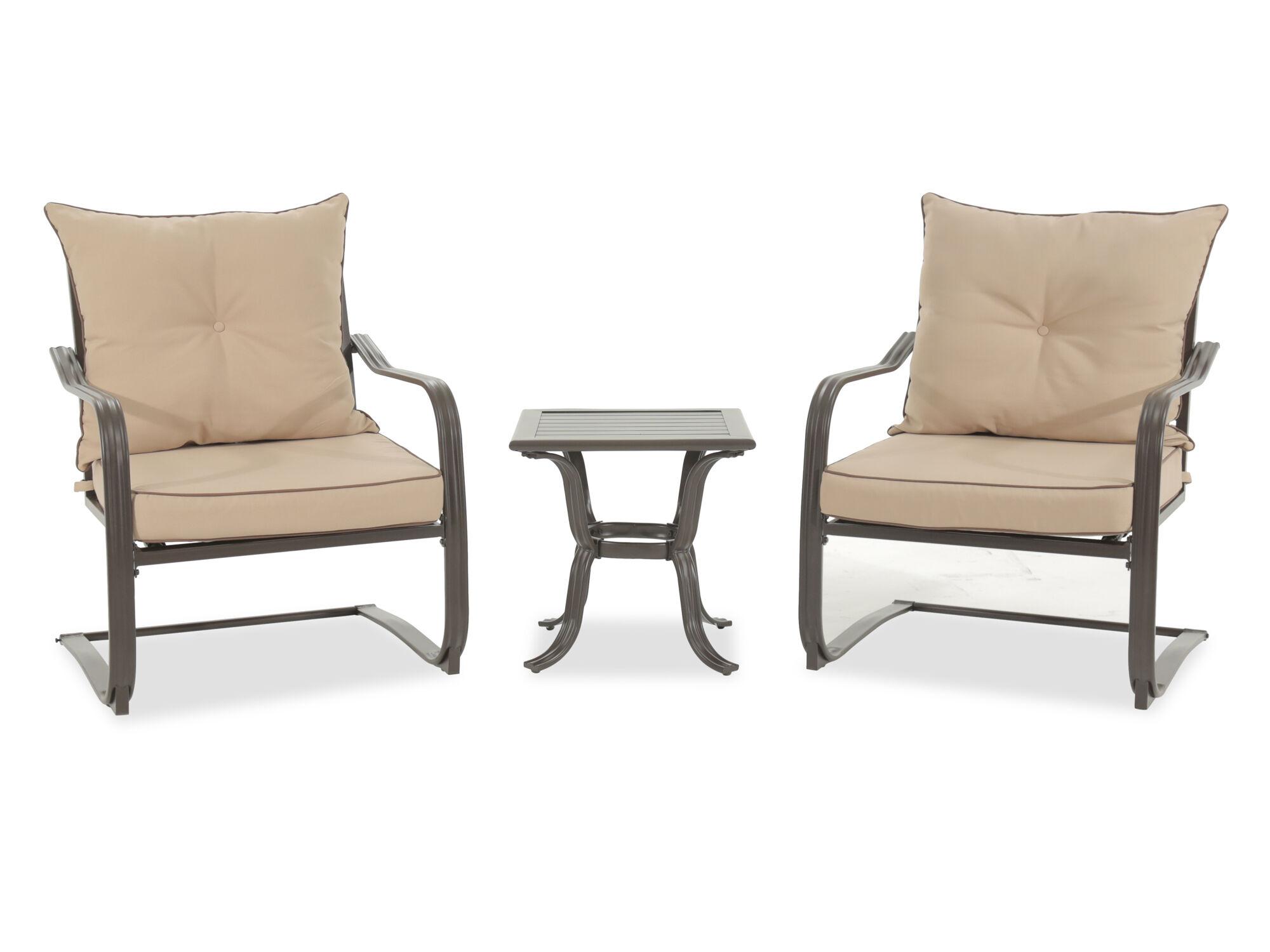 Outdoor furniture set Brown Threepiece Casual Upholstered Bistro Setnbspin Dark Mathis Brothers Patio Furniture Stores Mathis Brothers
