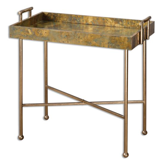 Cross Stretcher Tray Table in Burnished Gold Leaf