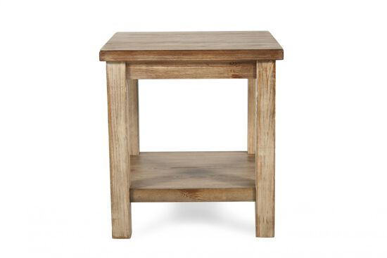 Open-Shelf Rustic Farmhouse End Table in Blond Pine