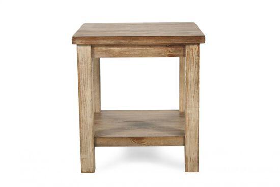 Open-Shelf Rustic Farmhouse End Table in Blond Pine