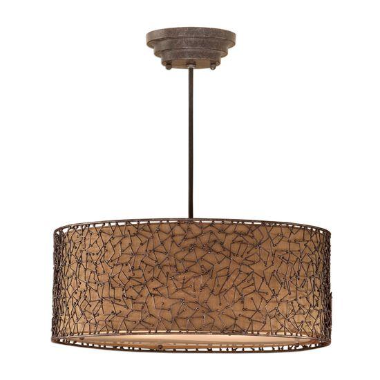 Abstract Design Three-Light Drum Pendantin Brown