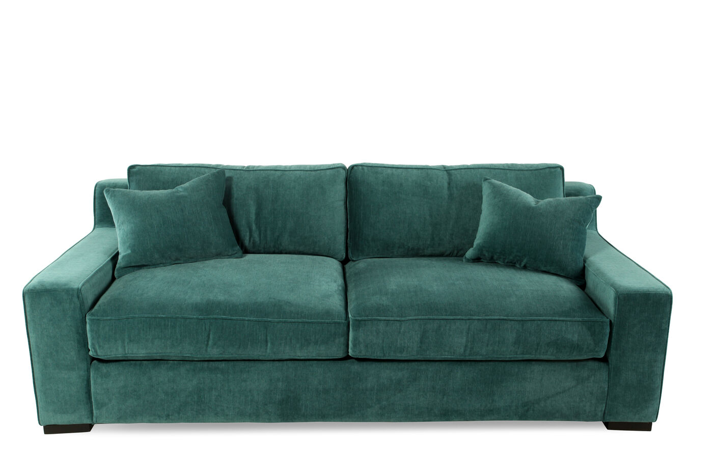 Low profile microfiber 38quot sofa in emerald green mathis for Emerald green sectional sofa