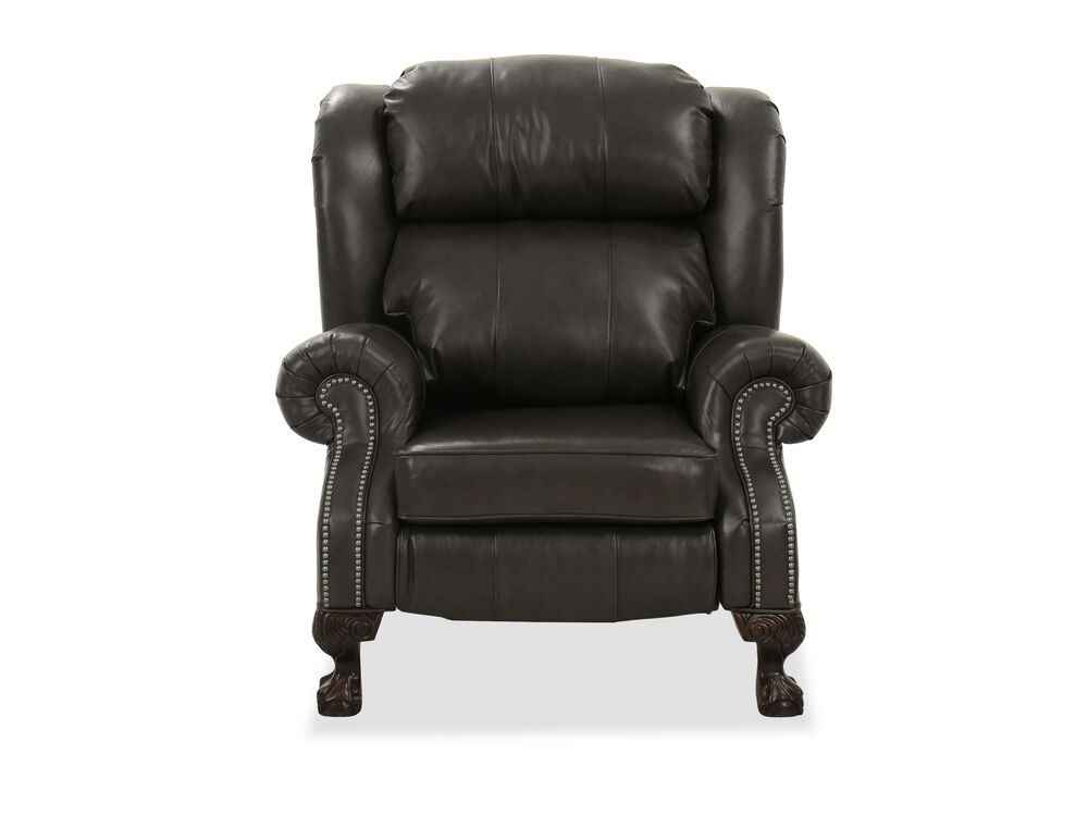 """Nailhead-Accented 40"""" Wingback Recliner in Charcoal"""