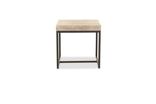Solid Mango Wood Square End Table in Gray