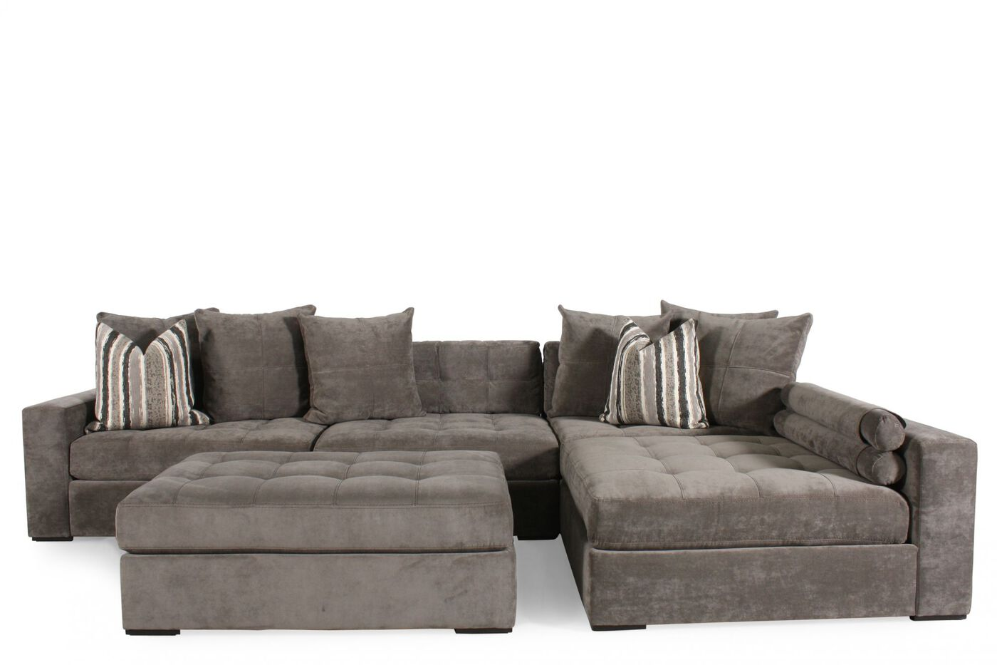 Contemporary tufted sectional in muted gray mathis for Sectional sofas mathis brothers