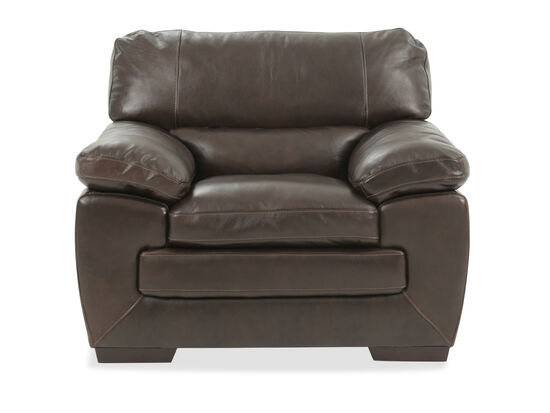 """Bustle-Back Traditional Leather 46"""" Chair in Brown"""