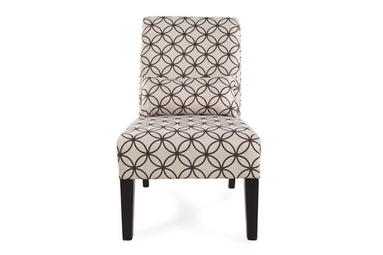 "Floral Patterned Transitional 22.5"" Accent Chair in Brown"