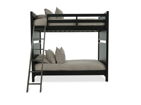 Industrial Nailhead Accented Youth Twin Over Twin Bunk Bed in Dark Brown