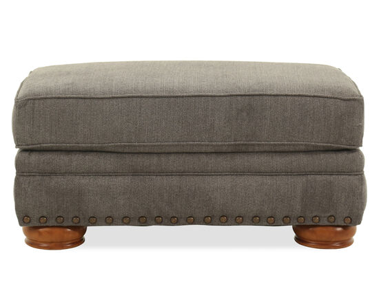 Nailhead Accented Contemporary Ottoman in Gray