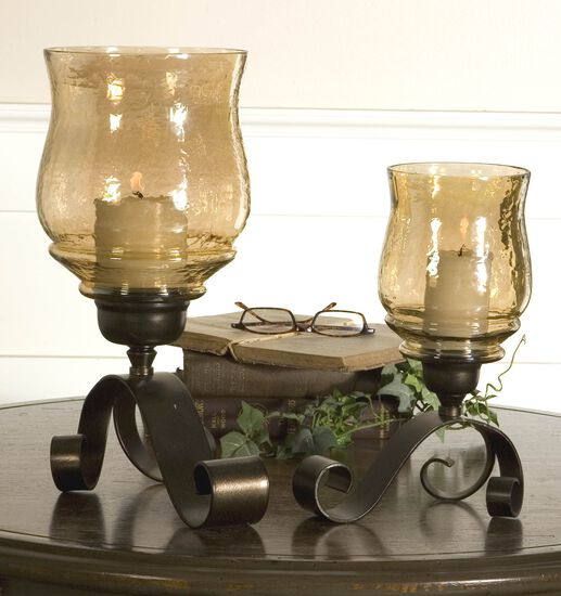 Two-Piece Candle Holder Set in Antiqued Bronze