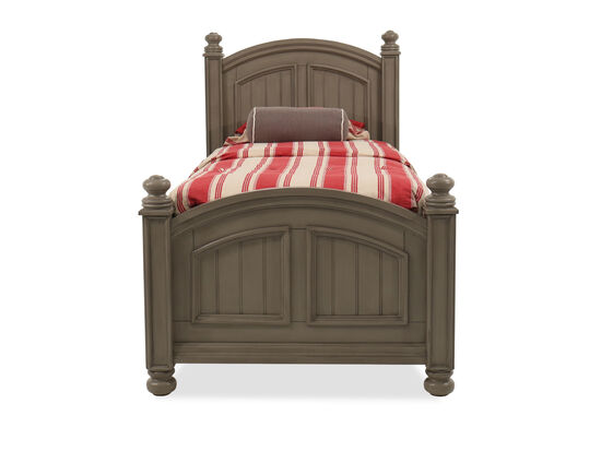 Casual Twin Youth Panel Bed in Khaki Gray